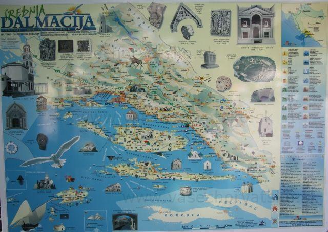 Stredná dalmácia - mapa - Okolie Makarskej a mapa strednej Dalmácie z pamiatkami a miestami, ktoré sa oplatí vidieť.